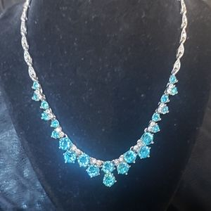 Signed Bogoff Turquoise & White Sapphire necklace